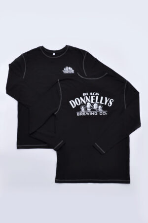 The Front And Back Of A Black Donnellys Brewing Company Long Sleeve T-shirt In Black With A White And Black Logo Both On The Front And Back.